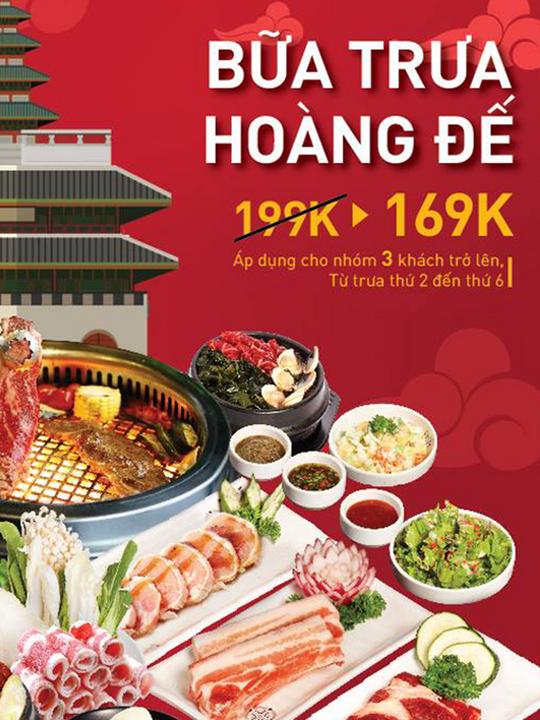 King BBQ ưu đãi buffet trưa chỉ 169k tại Hà Nội