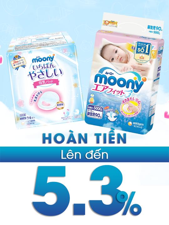 Moony Vietnam  hoàn tiền lên đến 5.3% khi mua SP Moony