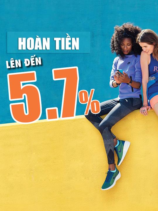 Nike hoàn tiền lên đến 5.7% khi mua tại Tiki