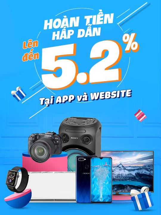 Tiki hoàn tiền lên đến 5.2% tại App và Website