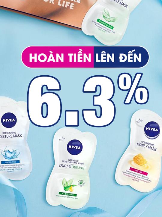 NIVEA hoàn tiền lên đến 6.3% khi mua tại Shopee