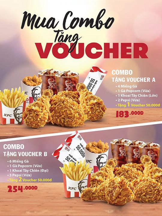 KFC tặng voucher 50k khi mua combo