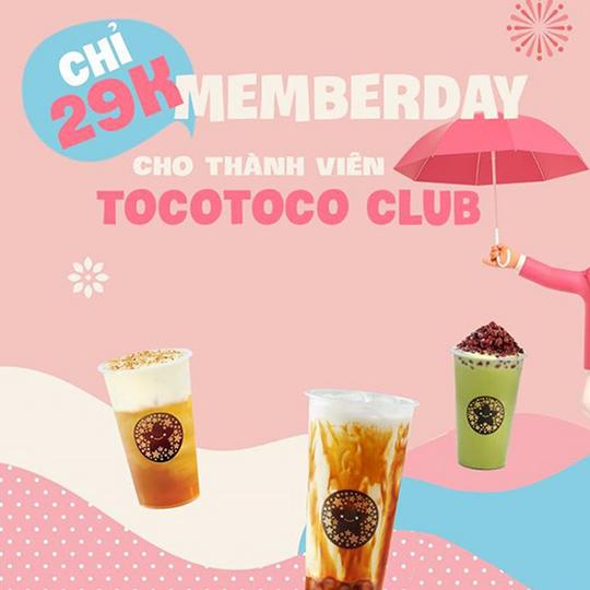 Tocotoco ưu đãi chỉ 29k cho khách hàng thành viên