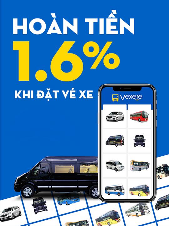 Vé Xe Rẻ hoàn 1.6% khi đặt vé xe