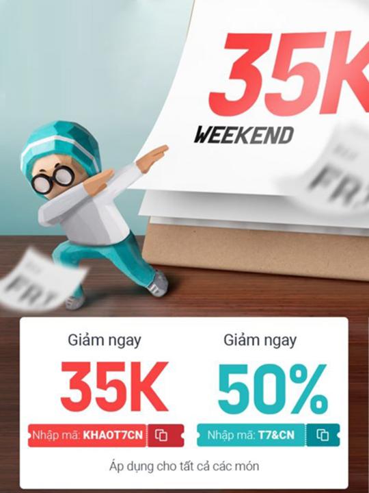 BAEMIN khuyến mãi 50% tối đa 40k vào cuối tuần