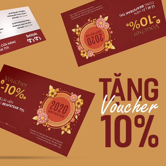 Beefsteak TiTi tặng voucher giảm 10%