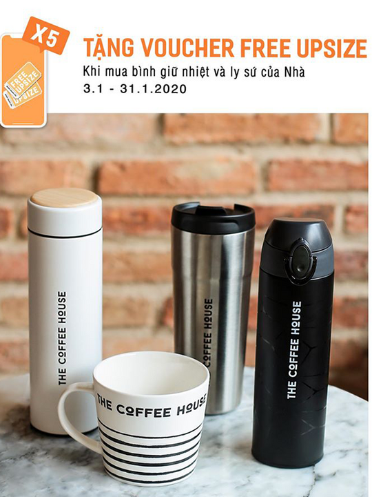 The Coffee House tặng voucher Free upsize