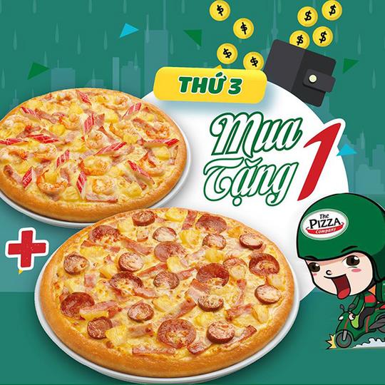 The Pizza Company khuyến mãi mua 1 tặng 1 vào thứ 3
