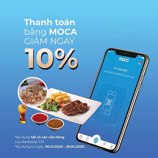 Beefsteak TiTi khuyến mãi 10% khi thanh toán bằng ví Moca