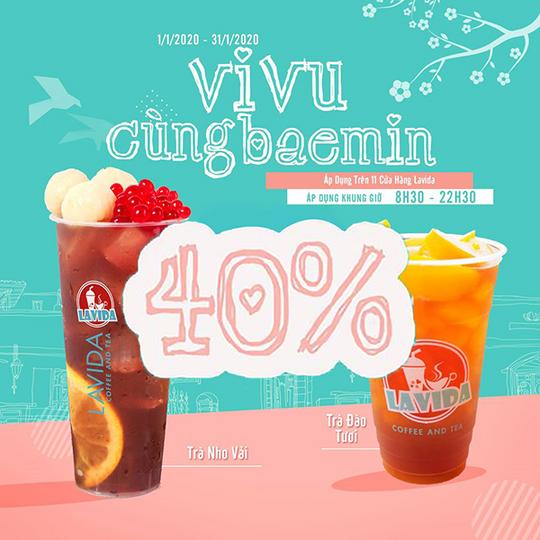 Lavida Coffee and Tea giảm giá 40% qua Baemin