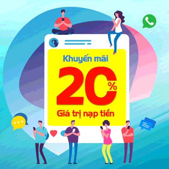 Mobifone khuyến mãi 20% giá trị thẻ nạp ngày 19/02