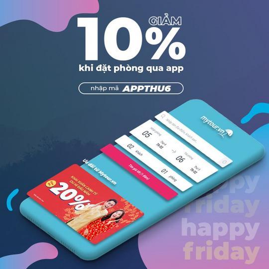 Mytour giảm 10% khi đặt khách sạn qua app