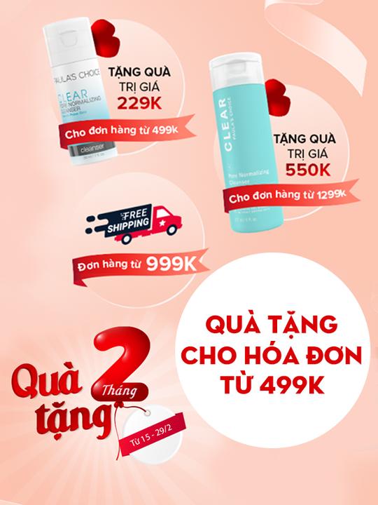 Paula's Choice Vietnam khuyến mãi quà tặng cho ĐH từ 499k