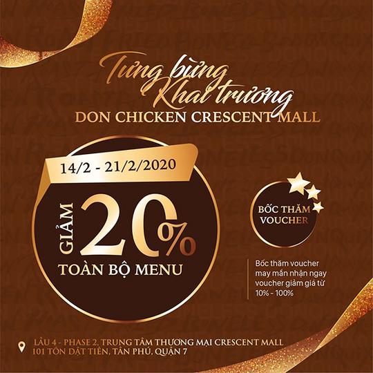 DON Chicken khuyến mãi giảm 20% toàn bộ menu