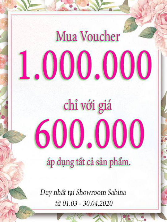 Sabina Vietnam giảm 400k chỉ còn 600k khi mua voucher 1tr