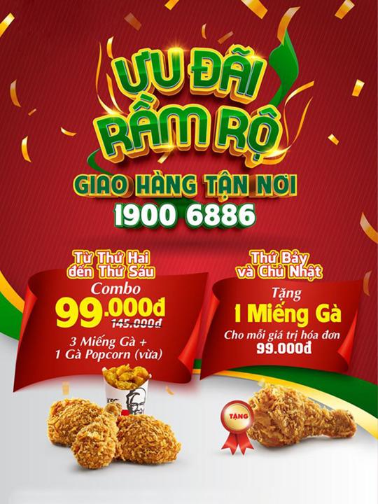 KFC khuyến mãi combo gà chỉ 99k khi giao hàng
