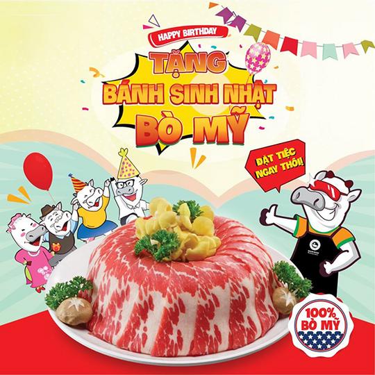 Kichi Kichi tặng 1 bánh sinh nhật bò Mỹ