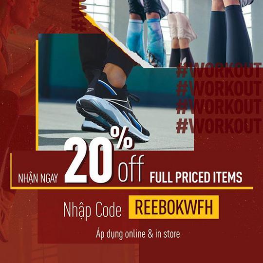 Reebok khuyến mãi 20% tất cả sản phẩm nguyên giá