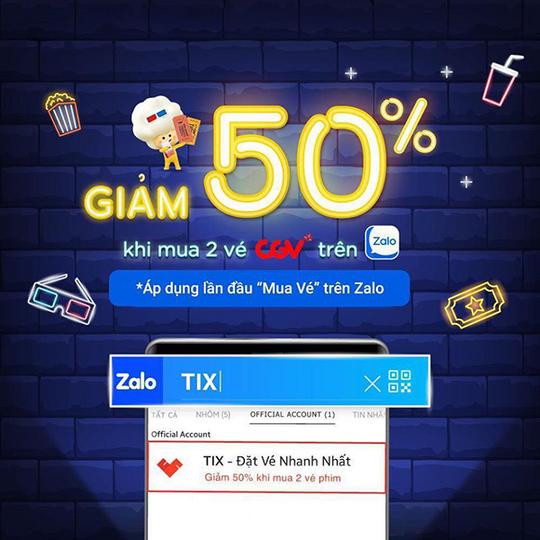 CGV khuyến mãi giảm 50% khi mua 2 vé