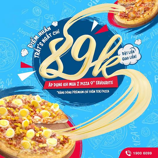 Domino khuyến mãi pizza chỉ từ 89k