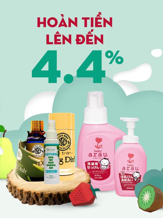 Tuticare hoàn tiền lên đến 4.4% khi mua sắm