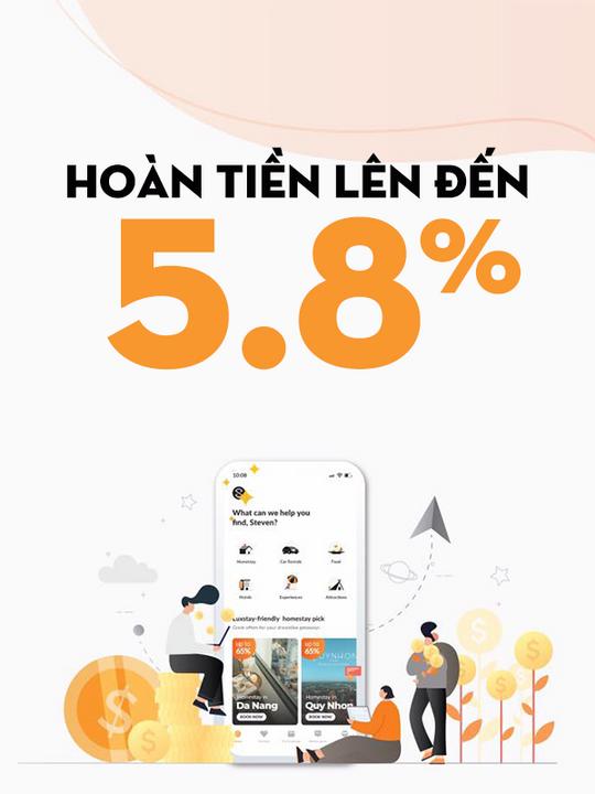 Luxstay hoàn tiền đến 5.8% đặt phòng qua website
