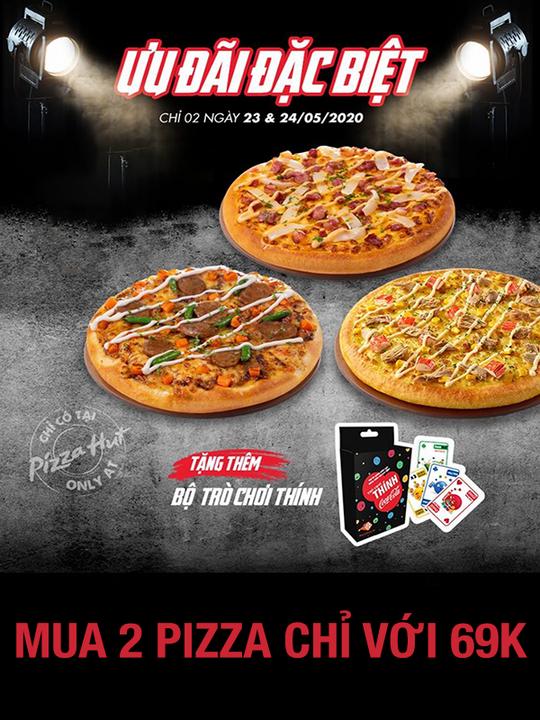 Pizza Hut khuyến mãi 2 pizza cỡ nhỏ chỉ với giá 69k