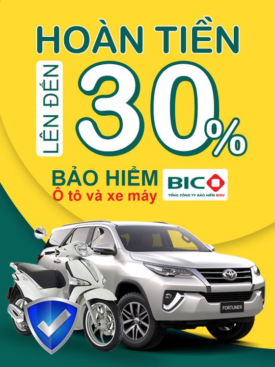 BIDV hoàn tiền đến 30% khi mua BH ô tô, xe máy