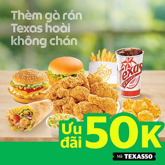 Texas Chicken khuyến mãi 50k ĐH từ 200k qua GrabFood