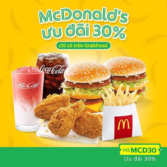 McDonald's khuyến mãi 30% toàn menu qua GrabFood