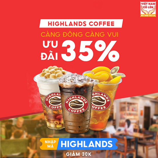 Highlands Coffee giảm 35% khi đặt qua NowFood