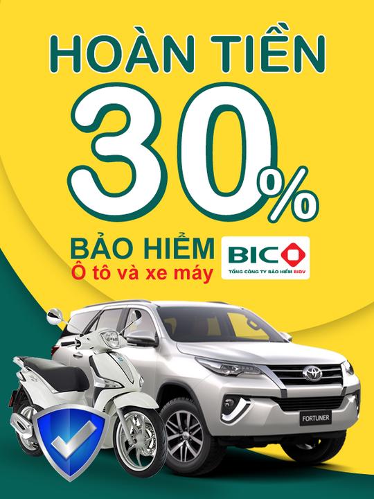 Bảo Hiểm BIC hoàn tiền đến 30% khi mua BH ô tô, xe máy