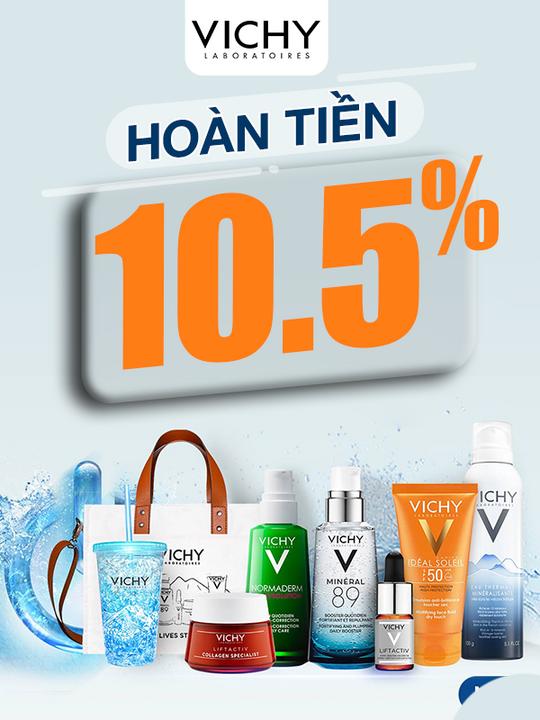 Lazada Bonus hoàn tiền 10.5% khi mua sản phẩm Vichy