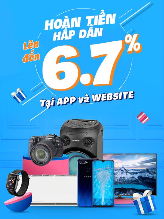 Tiki hoàn tiền lên đến 6.7% tại App và Website