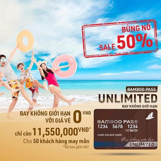 Bamboo Airways khuyến mãi 50% cho thẻ Unlimited