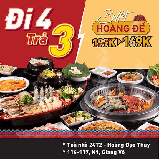 King BBQ khuyến mãi đi 4 tặng 1 tại Hà Nội