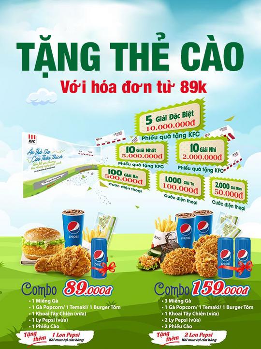 KFC tặng thẻ cào với hóa đơn từ 89k