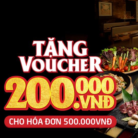 Sumo BBQ tặng voucher 200k cho HĐ 500k