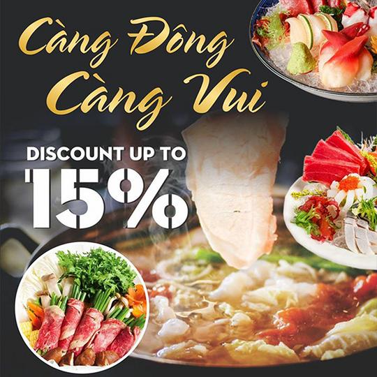 Sushi World giảm đến 15% khi đặt bàn