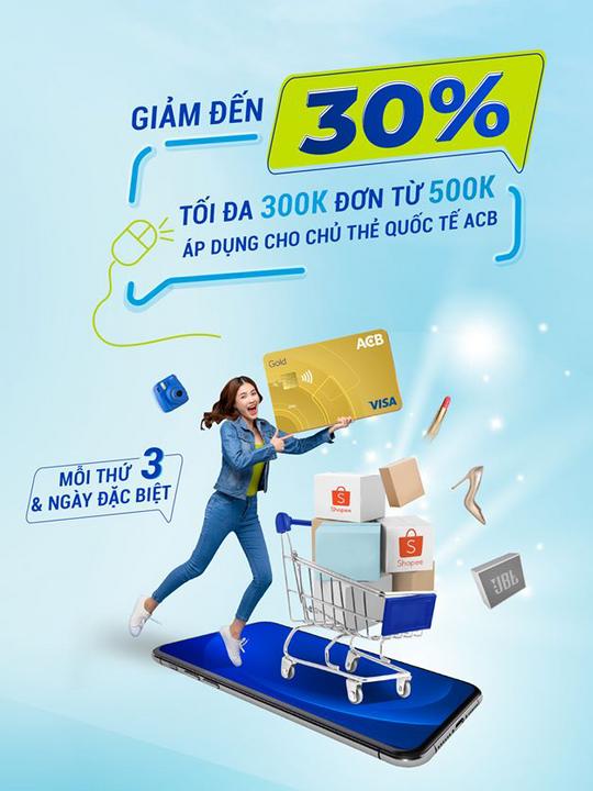 Shopee giảm đến 30% cho chủ thẻ ACB