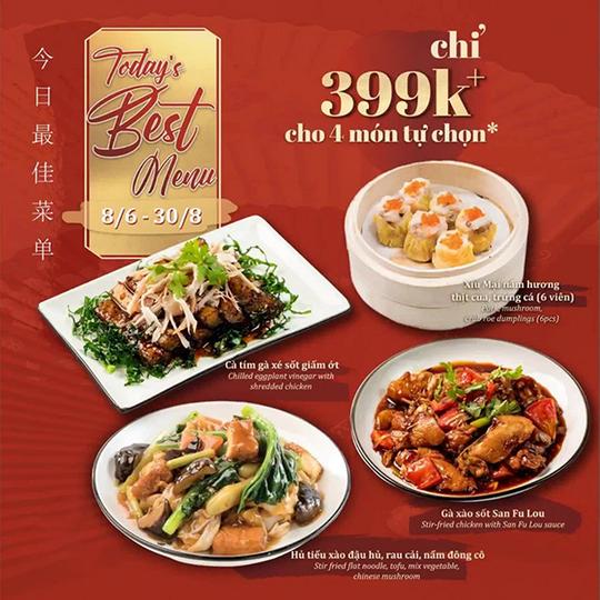 San Fu Lou khuyến mãi 4 món tự chọn chỉ 399k/ người