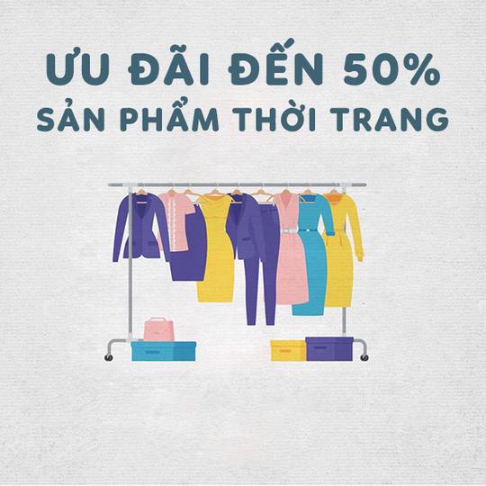Tiki khuyến mãi đến 50% các sản phẩm thời trang
