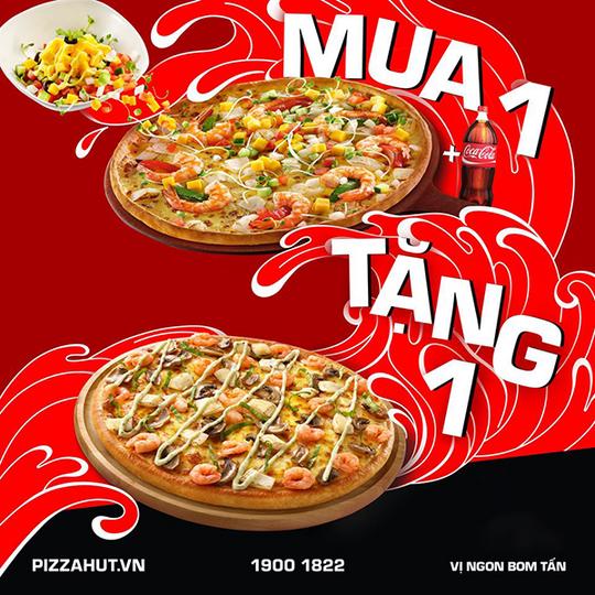 Pizza Hut mua 1 tặng 1 khi giao hàng tận nơi
