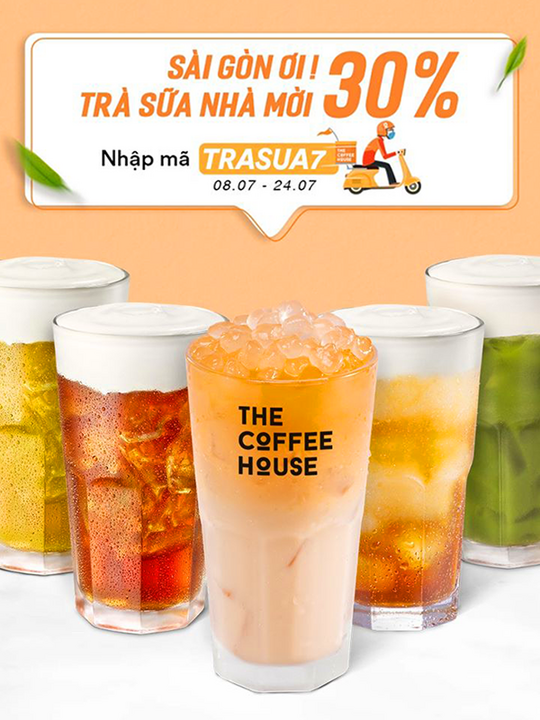 The Coffee House giảm 30% dòng trà sữa