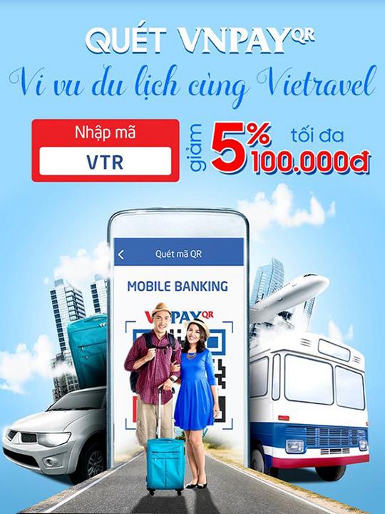 Vietravel giảm 5% khi thanh toán qua VNPAY
