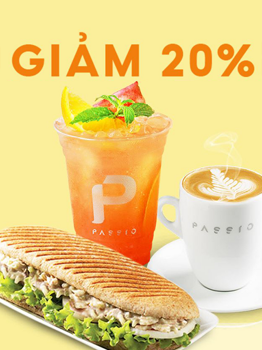 Passio Coffee Vietnam khuyến mãi 20% toàn menu qua Now