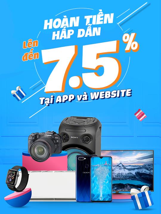 Tiki hoàn tiền lên đến 7.5% tại App và Website