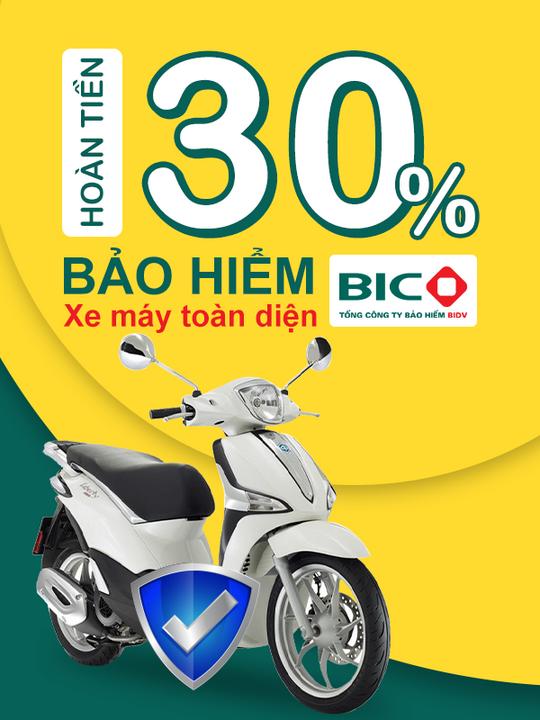 Bảo Hiểm Xe Máy hoàn tiền đến 30% khi mua BH xe máy