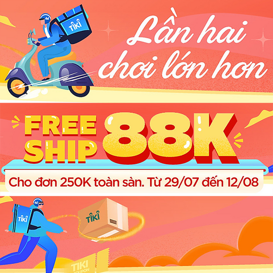 Tiki miễn phí vận chuyển 88k với hóa đơn 250k