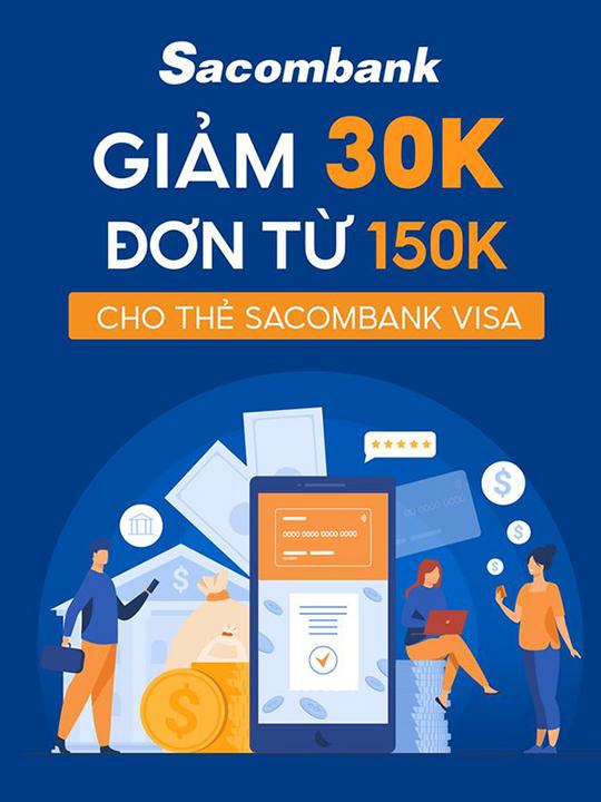 Shopee giảm 30k cho chủ thẻ Sacombank